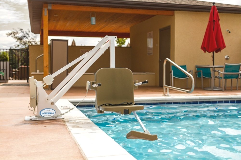 Ranger 2 Pool Lift - No Anchor - 350 lb - White with Tan Seat